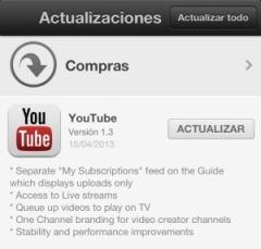 Youtube actualizacion 1.3