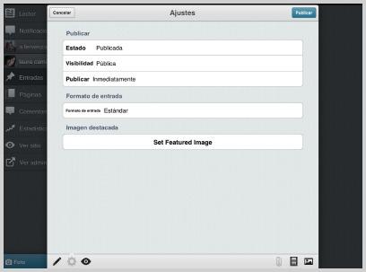Pantalla de ajustes de publicación · WordPress para iOS
