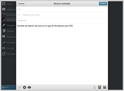 Pantalla de edición de texto · WordPress para iOS