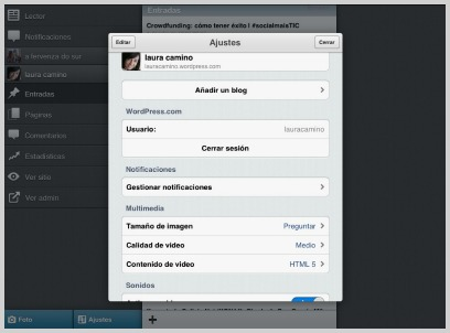 Menú Ajustes | WordPress para iPad