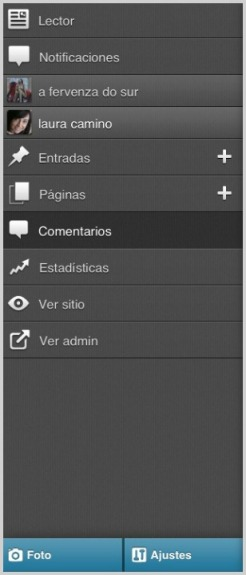 Menú principal | WordPress para iOS