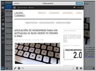 Pantalla de Vista previa · WordPress para iPad