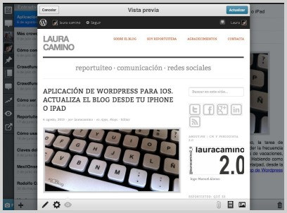 Pantalla de Vista previa · WordPress para iPad